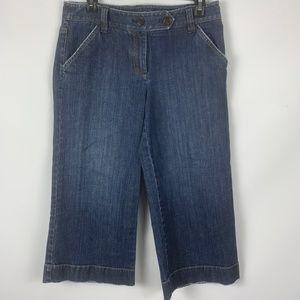Ann Taylor Sz 4 Capri Jeans Dark Slim Flat Front